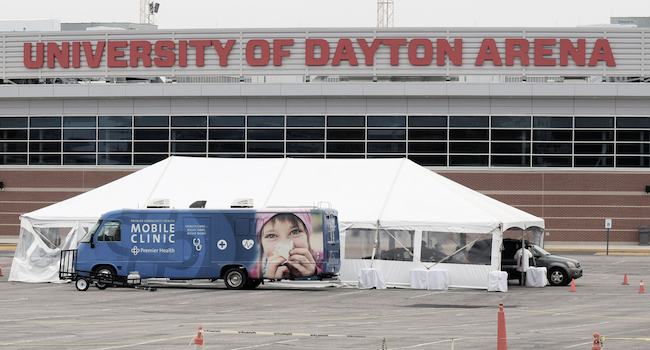 Dayton, Ohio 4/18/2020 : The first games of the 2020 NCAA Basketball Tournament were to be played at the University of Dayton Arena. Instead it became one of the first Covid-19 test sites.